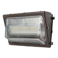 Front view of a 50 watt LED wall pack used for outdoor wall mounted lighting