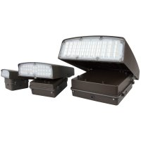 Collection of adjustable LED wall packs ranging from 12 watts up to 80 watts with corresponding sizes
