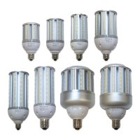 Collection of LED corn cob light bulbs ranging from small 14 watt lamps up to large 120 watt lamps