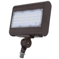The front of a 50 watt Broadcast FLF outdoor flood light attached to a knuckle mount