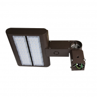 Slipfitter LED flood light with a clear lens angled downwards to illustrate its adjustability as well as show the slipfitter attachment point for poles and other types of square mounting points