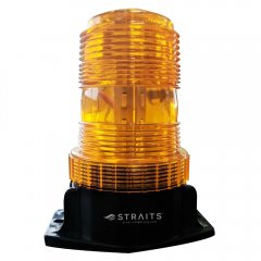 An orange lens forklift strobe safety light is shown upright with its mounting base