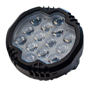 Round shaped LED spotlight used for crane safety manufactured by Straits Lighting