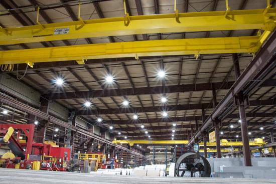 Brightly illuminated warehouse after LED retrofitting