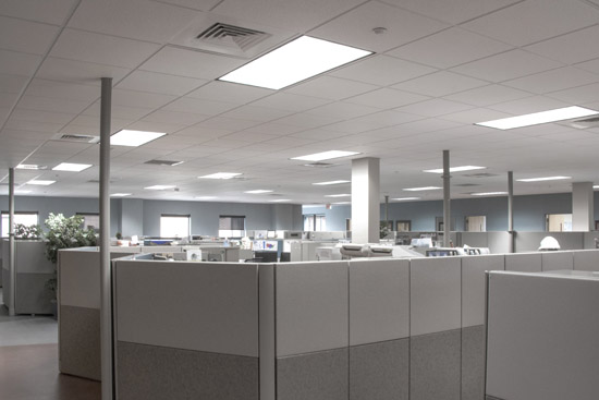 A well lit office space after being renovated with LED lights