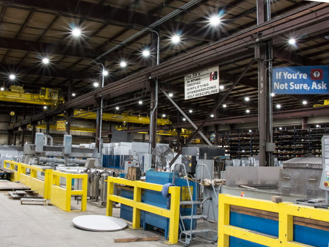 Manufacturing plant being lit with LEDs
